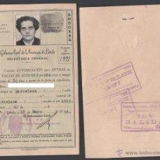 Documentos antiguos: C9-14 VALLES DE ANDORRA - CARNET DE AUTORIZACION, CON FOTO PARA ENTRAR UNA VEZ EN ANDORRA-12-MAYO-54. Lote 39767073