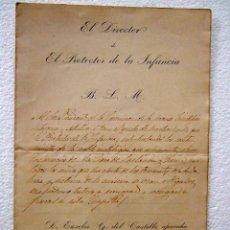 Documentos antiguos: 1885 TERREMOTO DE ALHAMA DE GRANADA DOCUMENTO DEL PROTECTOR DE LA INFANCIA VERLO. Lote 39822927