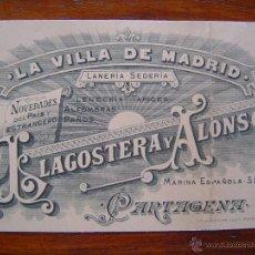 Documentos antiguos: TARJETA DE VISITA - SEDERIA LA VILLA DE MADRID DE LLAGOSTERA Y ALONSO - 1899 - CARTAGENA ( MURCIA ). Lote 39900751