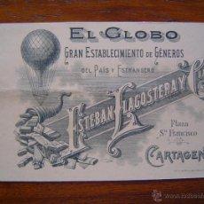 Documentos antiguos: TARJETA DE VISITA - GENEROS EL GLOBO DE ESTEBAN LLAGOSTERA Y CIA - 1899 - CARTAGENA ( MURCIA ). Lote 39900837