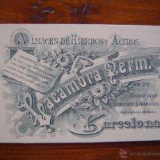 Documentos antiguos: TARJETA DE VISITA - ALMACEN DE HIERROS Y ACEROS LACAMBRA HERMANOS - 1896 - BARCELONA. Lote 39901070