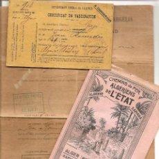 Documentos antiguos: LOTE 3 DOCUMENTOS DE ARGELIA - PRINCIPIOS SIGLO XX - MUY INTERESANTES,VER FOTOGRAFIAS Y DESCRIPCIÓN. Lote 39942094