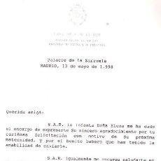 Documentos antiguos: CASA DE S. M. EL REY - CARTA AGRADECIMIENTO OBSEQUIO MATERNIDAD INFANTA ELENA- AÑO 1998. Lote 40027914
