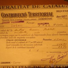 Documentos antiguos: RECIBOS CONTRIBUCION SABADELL 1937. Lote 40089314