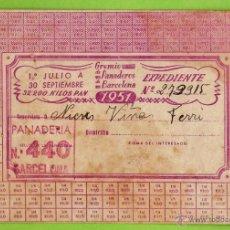Documentos antiguos: CARTILLA DE RACIONAMIENTO - GREMIO PANADEROS BARCELONA - NIEVES VIÑAS / PANADERIA 440 -AÑO 1951 RD3. Lote 40096865
