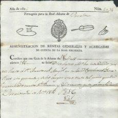 Alte Dokumente - guia para real aduana el vendrell año 1816, con sello oficial y firmado barcelona - 35069708