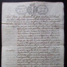 Documentos antiguos: DOCUMENTO MANUSCRITO ESCRITURA AÑO 1828 SELLO 2 PALAUTORDERA. Lote 40146172