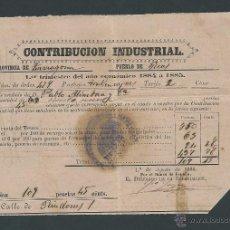 Documentos antiguos: CONTRIBUCION INDUSTRIAL AÑO 1884 REUS TARRAGONA. Lote 33816831