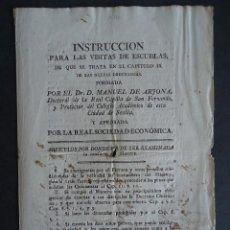 Documentos antiguos: SEVILLA.ENSEÑANZA.'INSTRUCCION PARA LAS VISITAS DE ESCUELAS' MANUEL DE ARJONA. SIGLO XVIII. Lote 40291529