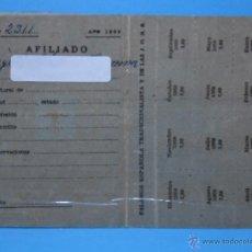 Documentos antiguos: CARNET AFILIADO FALANGE ESPAÑOLA TRADICIONALISTA Y DE LAS J.O.N.S. - PLASTIFICADO. Lote 40327986