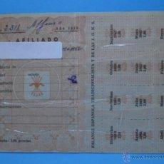 Documentos antiguos: CARNET AFILIADO FALANGE ESPAÑOLA TRADICIONALISTA Y DE LAS J.O.N.S. 1963 - PLASTIFICADO. Lote 40328013