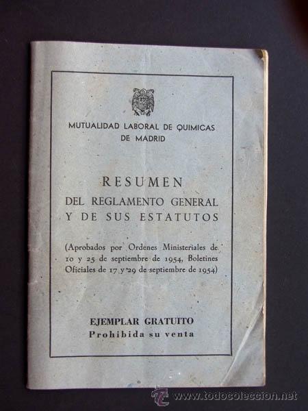 RESUMEN REGLAMENTO Y ESTATUTOS / MUTUALIDAD LABORAL DE QUIMICAS DE MADRID / AÑO 1955 (Coleccionismo - Documentos - Otros documentos)
