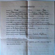 Documentos antiguos: AUTOBIOGRAFIA COMPLETADA A MANO POR EL PINTOR DE VILANOVA I LA GELTRÚ, JOSE BAGES JANE+SOBRE . Lote 40416015