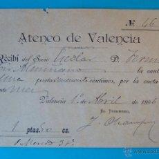Documentos antiguos: RECIBO DEL PAGO DE CUOTA DEL ATENEO DE VALENCIA, AÑO 1896. Lote 40567299