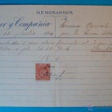 Documentos antiguos: DOCUMENTO CON TIMBRE MOVIL DE TRENOR Y COMPAÑIA DEL AÑO 1894, PARA CAMARA AGRICOLA AÑO 1894. Lote 40635972