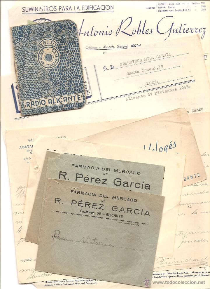 ALICANTE - LOTE DE 9 DOCUMENTOS ANTIGUOS MUY VARIADOS DE ALICANTE - VER DESCRIPCIONES Y FOTOS (Coleccionismo - Documentos - Otros documentos)
