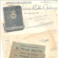 Documentos antiguos: ALICANTE - LOTE DE 9 DOCUMENTOS ANTIGUOS MUY VARIADOS DE ALICANTE - VER DESCRIPCIONES Y FOTOS. Lote 40717493