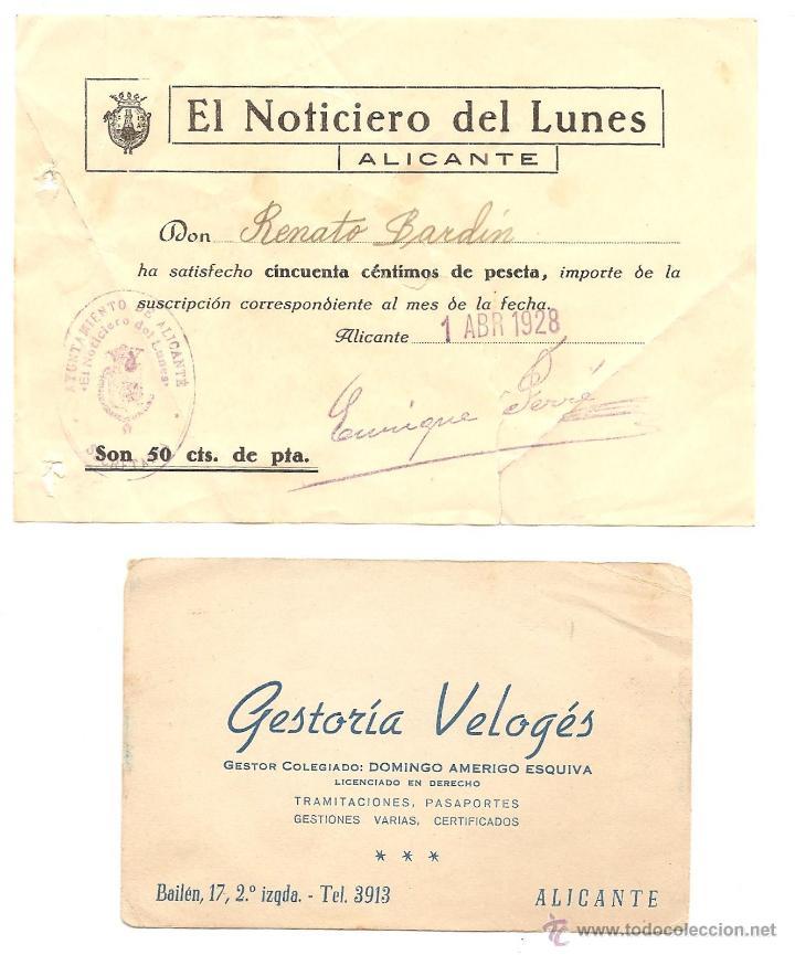 Documentos antiguos: ALICANTE - LOTE DE 9 DOCUMENTOS ANTIGUOS MUY VARIADOS DE ALICANTE - VER DESCRIPCIONES Y FOTOS - Foto 4 - 40717493