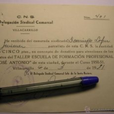 Documentos antiguos: DOCUMENTO DE VILLACARRILLO, JAEN, CENTRAL NACIONAL SINDICALISTA, TALLER F.P. JOSÉ ANTONIO.. Lote 40768643