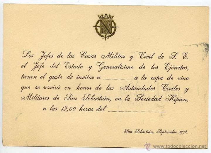 TARJETÓN INVITACIÓN CASA CIVIL Y MILITAR DE S.E. EL JEFE DEL ESTADO FRANCO. SAN SEBASTIÁN 1972 (Coleccionismo - Documentos - Otros documentos)