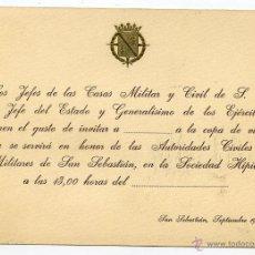 Documentos antiguos: TARJETÓN INVITACIÓN CASA CIVIL Y MILITAR DE S.E. EL JEFE DEL ESTADO FRANCO. SAN SEBASTIÁN 1972. Lote 269191008