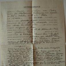 Documentos antiguos: AUTOBIOGRAFÍA COMPLETADA A MANO POR EL PINTOR DE SAN SEBASTIAN, PEDRO CONCAS ORTEGA+SOBRE 1949 . Lote 40856140