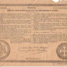 Documentos antiguos: BULA INDULTO APOSTOLICO 1923 - BENEDICTO XV - COMISARIO GENERAL DE CRUZADA. Lote 40922095