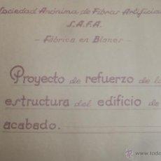 Documentos antiguos: PROYECTO SOCIEDAD FIBRAS ARTIFICIALES SAFA PLANOS BLANES ( GERONA GIRONA ) 1952. Lote 40944781