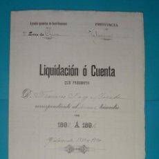 Documentos antiguos: LIQUIDACION O CUENTA CORRESPONDIENTE AL PRIMER TRIMESTRE DE 1893 A 1894 ZONA DE CHIVA. Lote 41015810