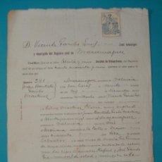 Documentos antiguos: CERTIFICADO DE DEFUNCION AÑO 1929 MASAMAGRELL SELLO 8VA CLASE 1.20 PESETAS. Lote 41016079