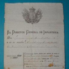 Documentos antiguos: FERNANDO PRIMO DE RIVERA DIRECTOR GENERAL DE INFANTERIA AÑO 1886, DOCUMENTOS MILITARES. Lote 41028989