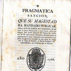 Documentos antiguos: MURCIA, CARTAGENA PRAGMÁTICA SOBRE HERENCIAS CARTAGENA 1.766. Lote 41202773