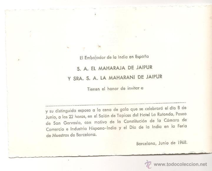 Tarjeta De Invitación Del Embajador De La India En España En Junio De 1968