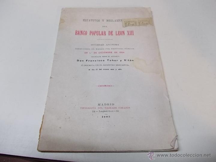ESTATUTOS Y REGLAMENTOS DEL BANCO POPULAR DE LEON XIII 1-12-1904 (Coleccionismo - Documentos - Otros documentos)