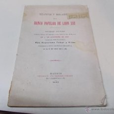 Documentos antiguos: ESTATUTOS Y REGLAMENTOS DEL BANCO POPULAR DE LEON XIII 1-12-1904. Lote 41289959