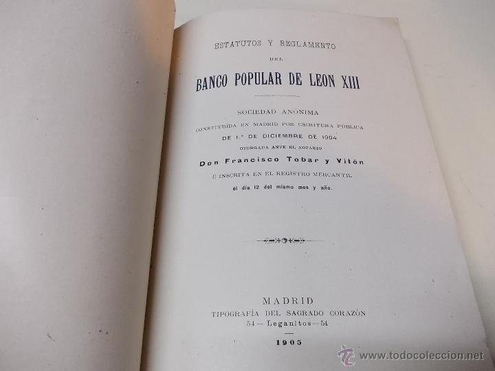 Documentos antiguos: Estatutos y Reglamentos del Banco Popular de Leon XIII 1-12-1904 - Foto 2 - 41289959