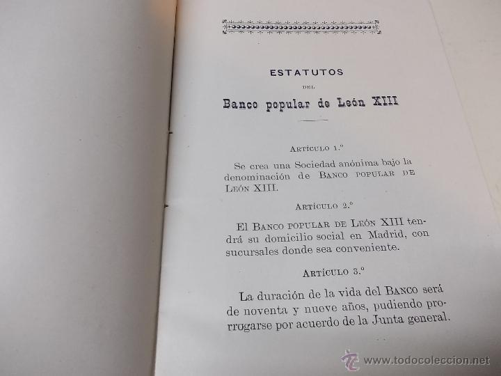 Documentos antiguos: Estatutos y Reglamentos del Banco Popular de Leon XIII 1-12-1904 - Foto 3 - 41289959