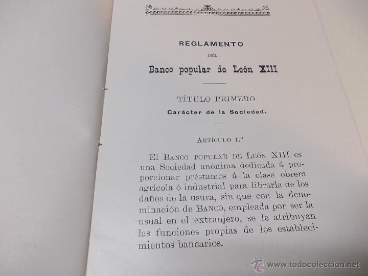 Documentos antiguos: Estatutos y Reglamentos del Banco Popular de Leon XIII 1-12-1904 - Foto 5 - 41289959