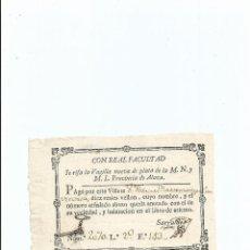 Documentos antiguos: LOTERÍA - BILLETE .. RIFA DE LA VAJILLA NUEVA DE PLATA DE LA M.N. Y M.L. PROVINCIA DE ALAVA S. XVIII. Lote 41391143