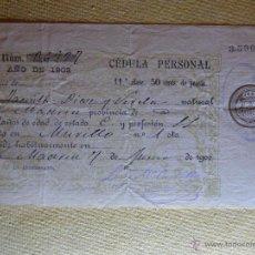 Documentos antiguos: CÉDULA PERSONAL - MADRID 1902 - . Lote 41397977