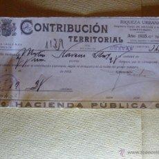 Documentos antiguos: CONTRIBUCIÓN TERRITORIAL - RIQUEZA URBANA - 1935 - . Lote 41398006