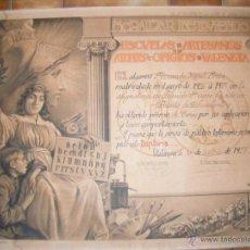 Documentos antiguos: ORLA DIPLOMA 1927 VALENCIA ESCUELAS ARTESANOS - MUY BONITO. Lote 41399421
