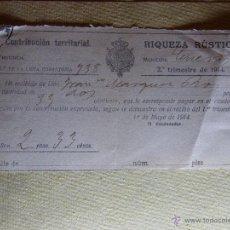 Documentos antiguos: CONTRIBUCIÓN TERRITORIAL - RIQUEZA RÚSTICA - 1914 -. Lote 41400677