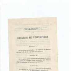 Documentos antiguos: 1886 - REGLAMENTO PARA EL CONGRESO DE VINICULTORES VINO VINOS ENOLOGIA. Lote 41411967