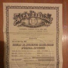 Documentos antigos: POLIZA DE SEGUROS SANTA LUCIA MADRID SUCURSAL SEVILLA 1961. Lote 41611126