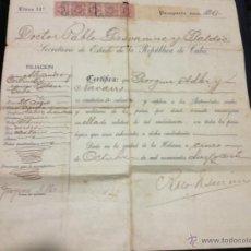 Documentos antiguos: PASAPORTE CUBANO 1919. SELLO EN SECO. VER FOTOS.. Lote 41632243
