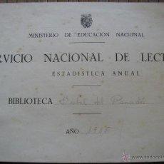 Documentos antiguos: BIBLIOTECA LA BISBAL DEL PENEDES 1955 SERVICIO NACIONAL DE LECTURA REGISTRO DEL AÑO PANADES. Lote 41742470