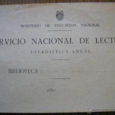 Documentos antiguos: BIBLIOTECA BISBAL DEL PENEDES 1954 SERVICIO NACIONAL DE LECTURA REGISTRO DEL AÑO. Lote 41742654