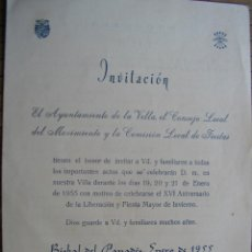 Documentos antiguos: BISBAL DEL PENEDES PANADES INVITACION DEL AYUNTAMIENTO A LAS FIESTAS DE ENERO 1955. Lote 41743768