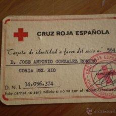 Documentos antiguos: ANTIGUA TARJETA DE IDENTIDAD CRUZ ROJA ESPAÑOLA,CORIA DEL RIO,SEVILLA,AÑOS 60?. Lote 41747147
